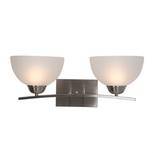 Alta Peak Collection 2-Light Vanity in Satin Steel