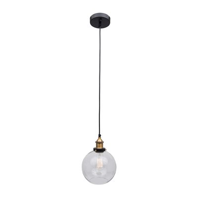 1 Light Pendant in Dark Grey Finish with Clear Glass