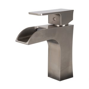 Single handle lavatory faucet brushed nickel
